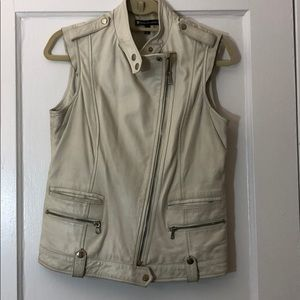 Bergdorf Goodman White Leather Motorcycle Vest
